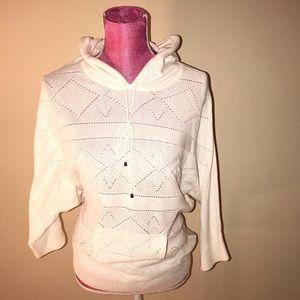 Tops - Cream 3/4 Sleeve Hooded Sweater